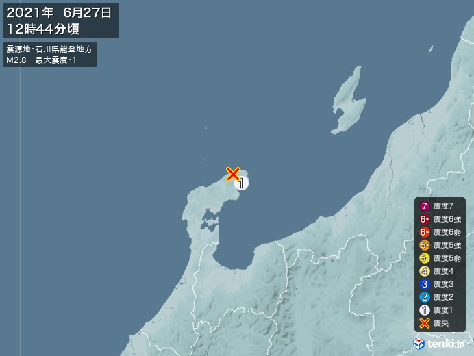 地震情報(2021年06月27日12時44分発生)