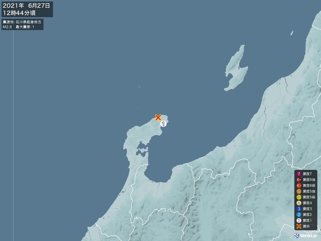 地震情報 2021年06月27日 12時44分頃発生 最大震度:1 震源地:石川県能登地方(拡大画像)