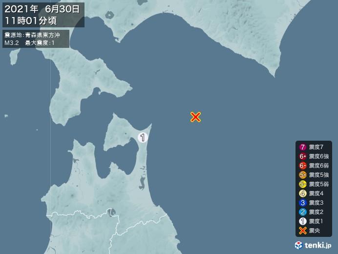 地震情報(2021年06月30日11時01分発生)