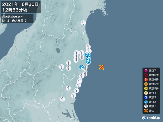 地震情報(2021年06月30日12時53分発生)