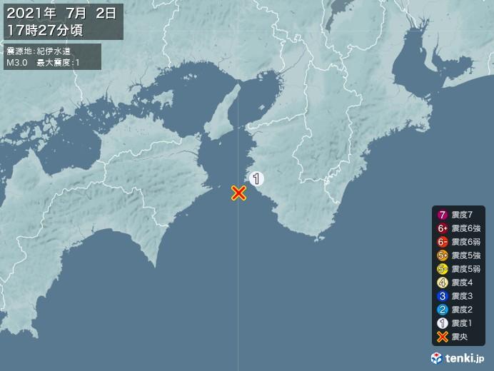 地震情報(2021年07月02日17時27分発生)