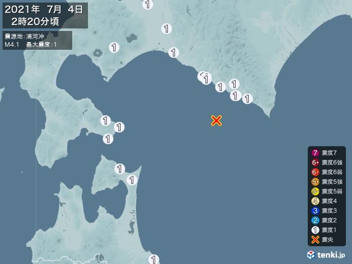 地震情報(2021年07月04日02時20分発生)