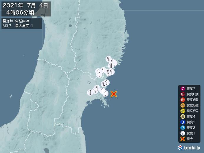 地震情報(2021年07月04日04時06分発生)