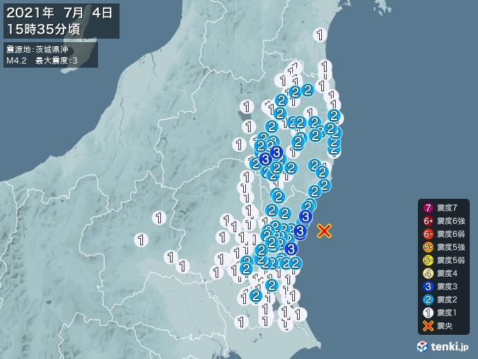 地震情報(2021年07月04日15時35分発生)