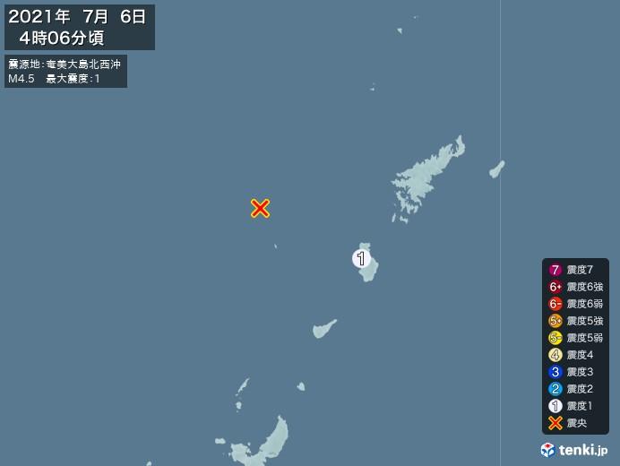 地震情報(2021年07月06日04時06分発生)
