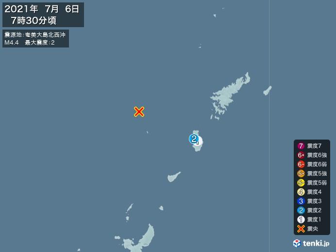 地震情報(2021年07月06日07時30分発生)