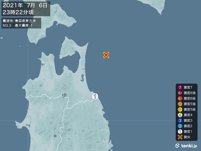 地震情報(2021年07月06日23時22分発生)