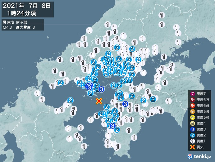 地震情報(2021年07月08日01時24分発生)