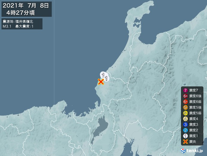 地震情報(2021年07月08日04時27分発生)