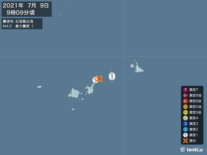 地震情報(2021年07月09日09時09分発生)