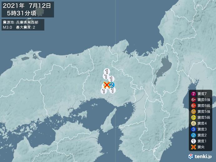地震情報(2021年07月12日05時31分発生)