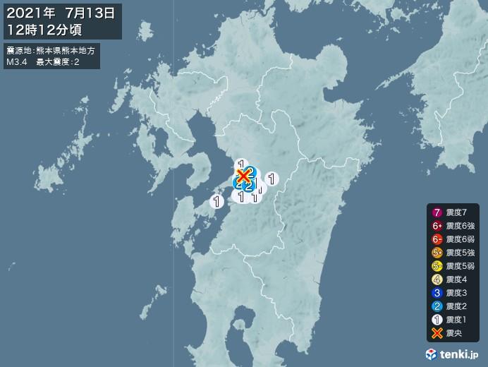 地震情報(2021年07月13日12時12分発生)