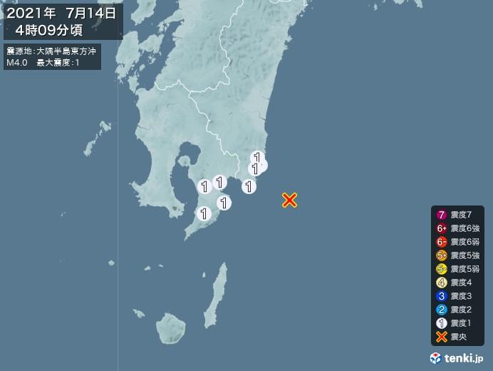 地震情報(2021年07月14日04時09分発生)