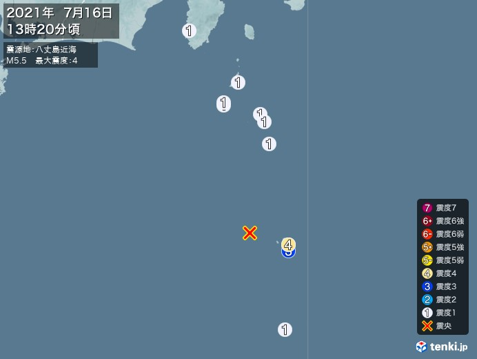 地震情報(2021年07月16日13時20分発生)