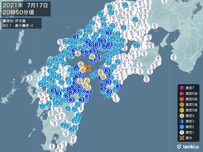地震情報(2021年07月17日20時50分発生)