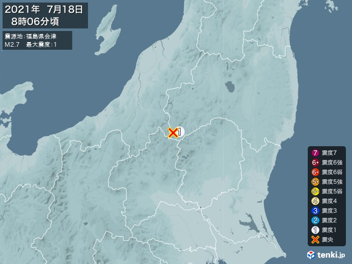 地震情報(2021年07月18日08時06分発生)