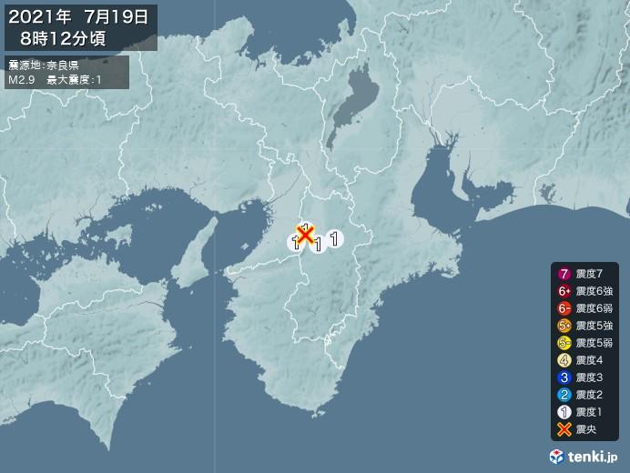 地震情報(2021年07月19日08時12分発生)