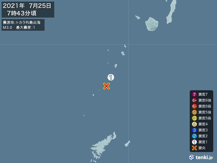 地震情報(2021年07月25日07時43分発生)
