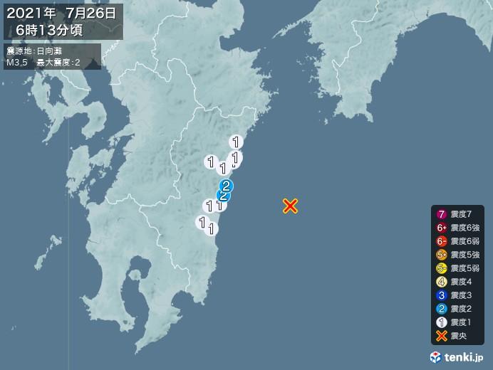 地震情報(2021年07月26日06時13分発生)