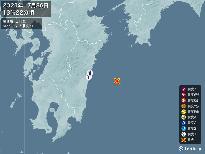 地震情報(2021年07月26日13時22分発生)