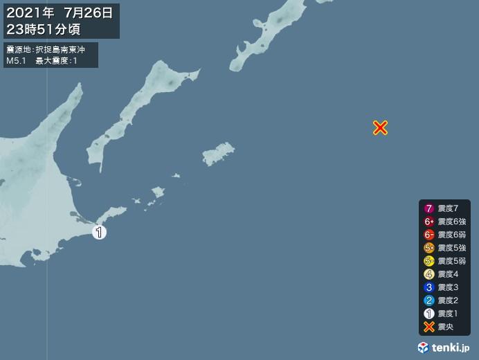 地震情報(2021年07月26日23時51分発生)