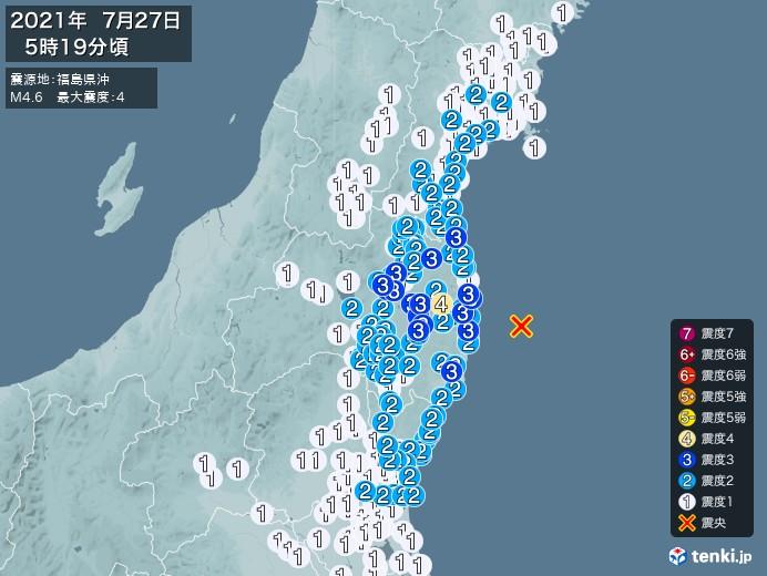 地震情報(2021年07月27日05時19分発生)