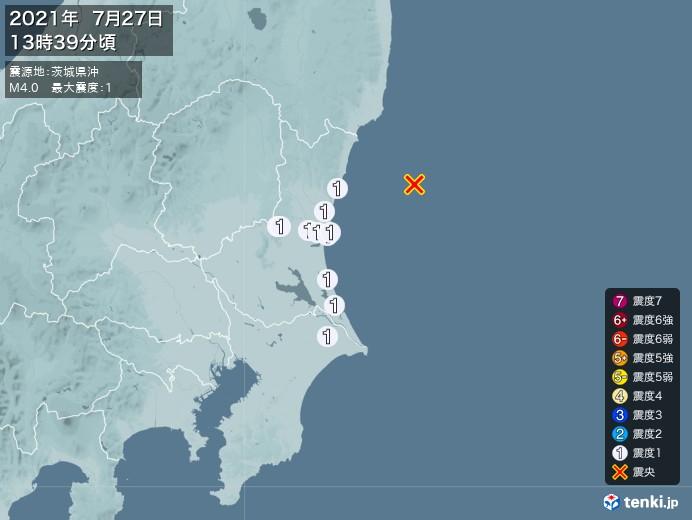 地震情報(2021年07月27日13時39分発生)