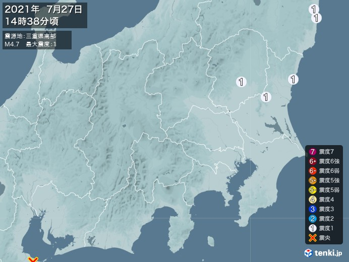 地震情報(2021年07月27日14時38分発生)