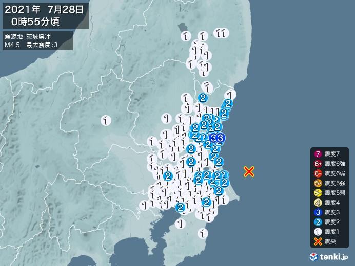 地震情報(2021年07月28日00時55分発生)