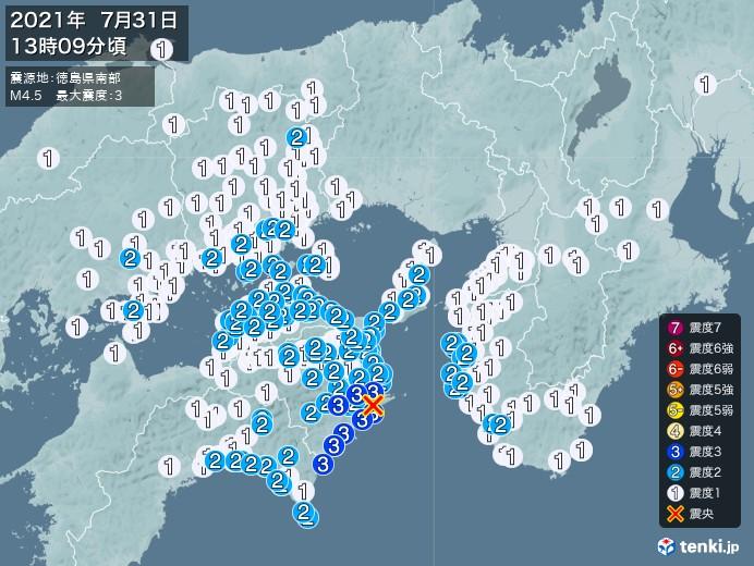 地震情報(2021年07月31日13時09分発生)