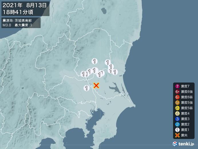 地震情報(2021年08月13日18時41分発生)