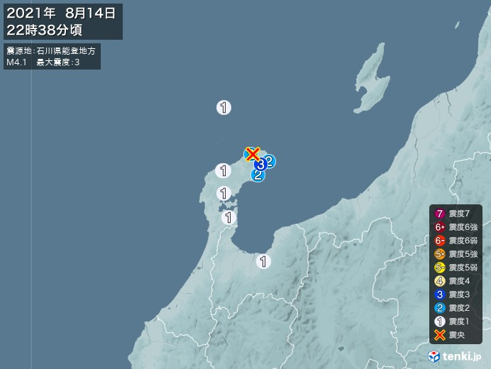 地震情報(2021年08月14日22時38分発生)