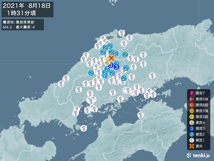 地震情報(2021年08月18日01時31分発生)