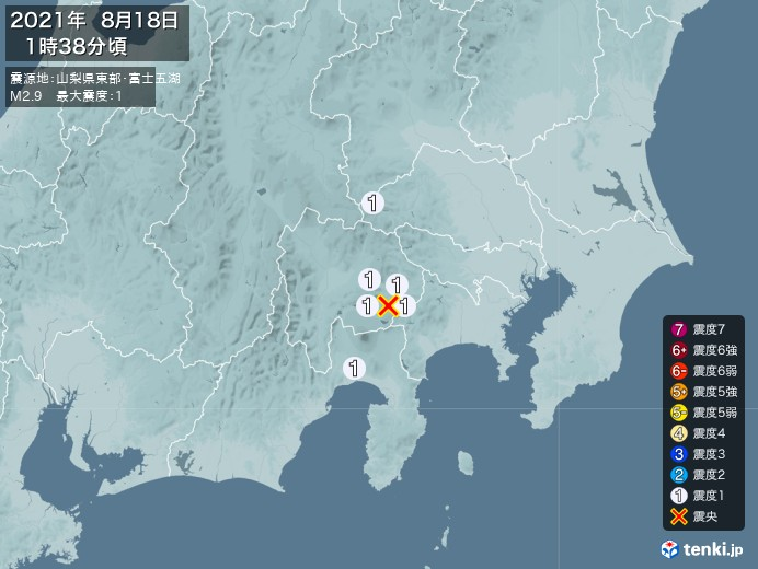 地震情報(2021年08月18日01時38分発生)