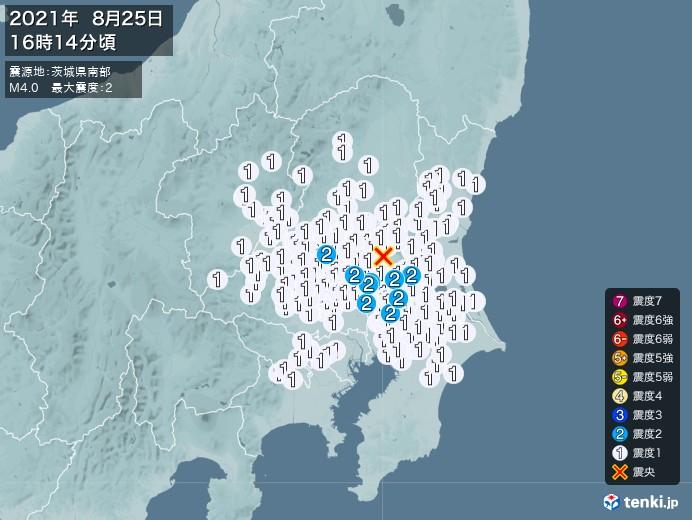 地震情報(2021年08月25日16時14分発生)