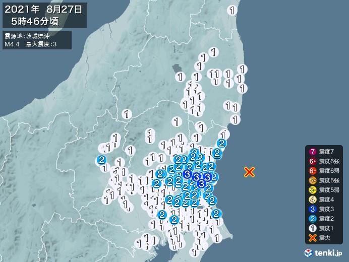 地震情報(2021年08月27日05時46分発生)