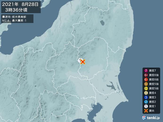 地震情報(2021年08月28日03時36分発生)