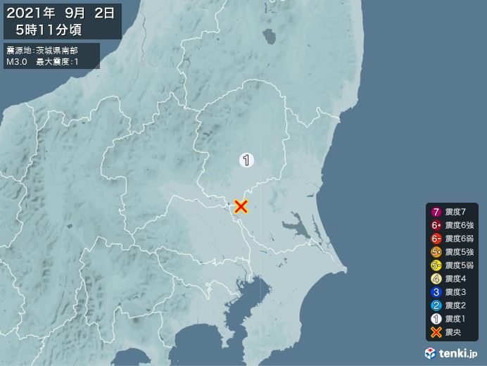 地震情報(2021年09月02日05時11分発生)