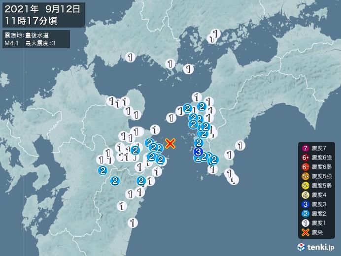 地震情報(2021年09月12日11時17分発生)