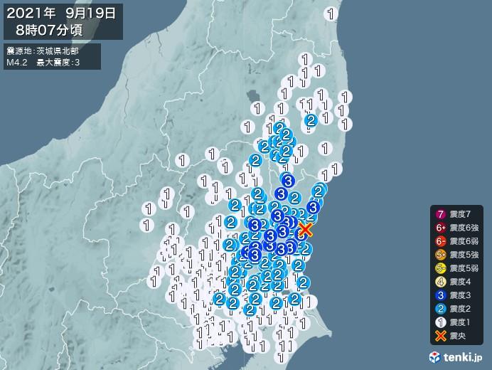 地震情報(2021年09月19日08時07分発生)