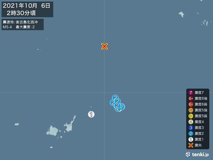地震情報(2021年10月06日02時30分発生)