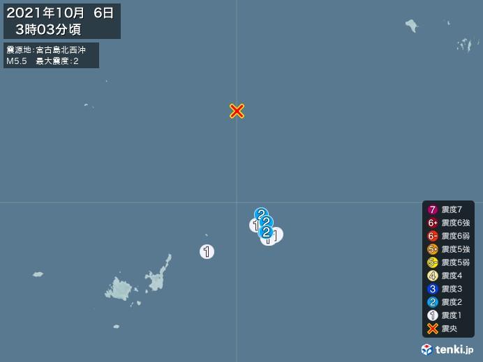地震情報(2021年10月06日03時03分発生)