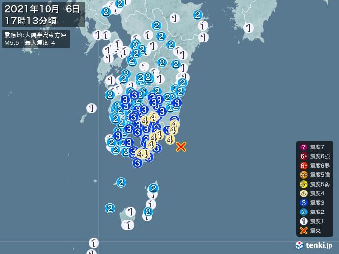 地震情報(2021年10月06日17時13分発生)