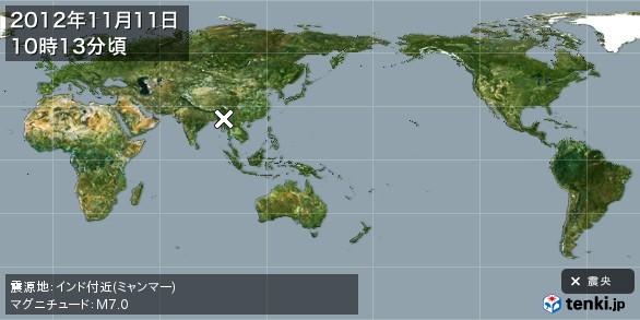 地震情報(2012年11月11日10時13分発生)